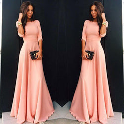 Slim Pure Color 3/4 Sleeves Pleated Long Maxi Dress - Shoes-Party - 3