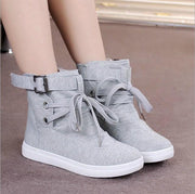Casual Flat High Top Buckle Canvas Sneakers