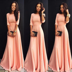 Slim Pure Color 3/4 Sleeves Pleated Long Maxi Dress - Shoes-Party - 1