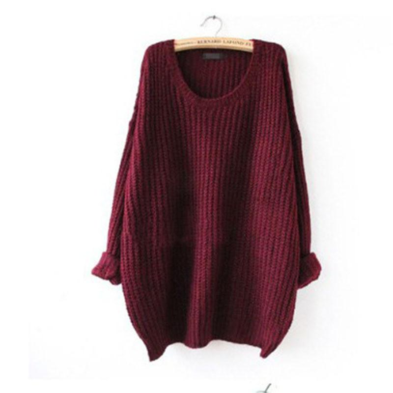 Long Pullover Loose Solid Color Knit Sweater - Bags in Cart - 6
