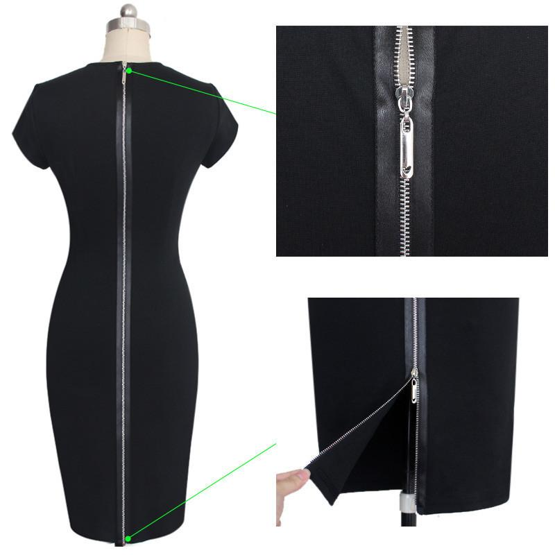 Splicing Scoop Zipper Bodycon Mid-Calf Dress