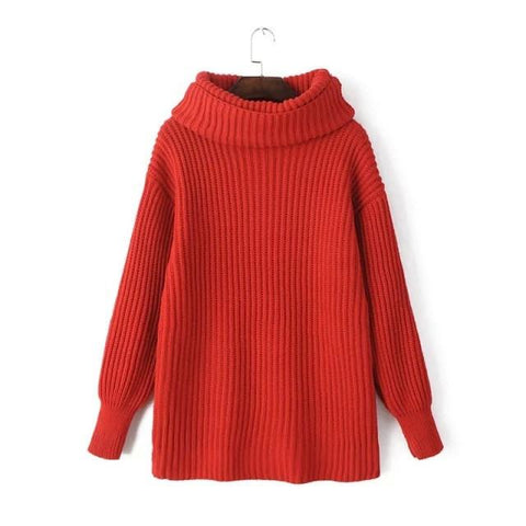 Lapel Pullover Loose High Collar Solid Sweater - Bags in Cart - 7