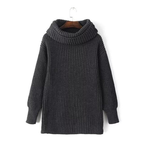 Lapel Pullover Loose High Collar Solid Sweater - Bags in Cart - 4