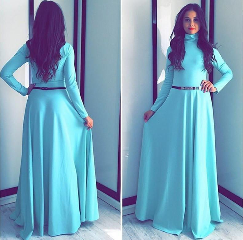 High-neck Solid Long Sleeves Pleated Long Party Dress
