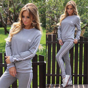 Casual Splicing Long Sleeves T-shirt with Pants Sports Suit Activewear - Bags in Cart - 2