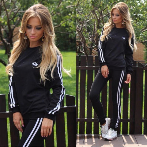Casual Splicing Long Sleeves T-shirt with Pants Sports Suit Activewear - Bags in Cart - 4