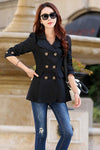Double Breasted Long Sleeves Lapel Slim Short Coat