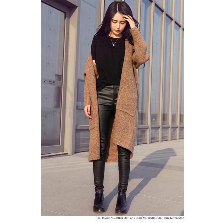 Pure Color Long Sleeves Two Pockets Long Cardigan