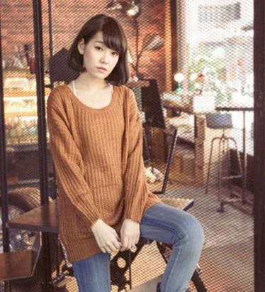 Long Pullover Loose Solid Color Knit Sweater - Bags in Cart - 4