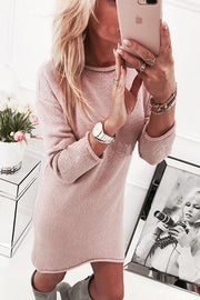 Pure Color Long Sleeves Big Scoop Long Sweater