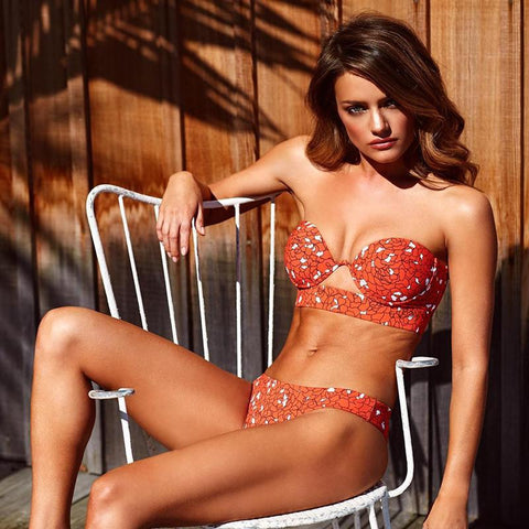 Print Low Rise Padded Top Two Pieces Bikini