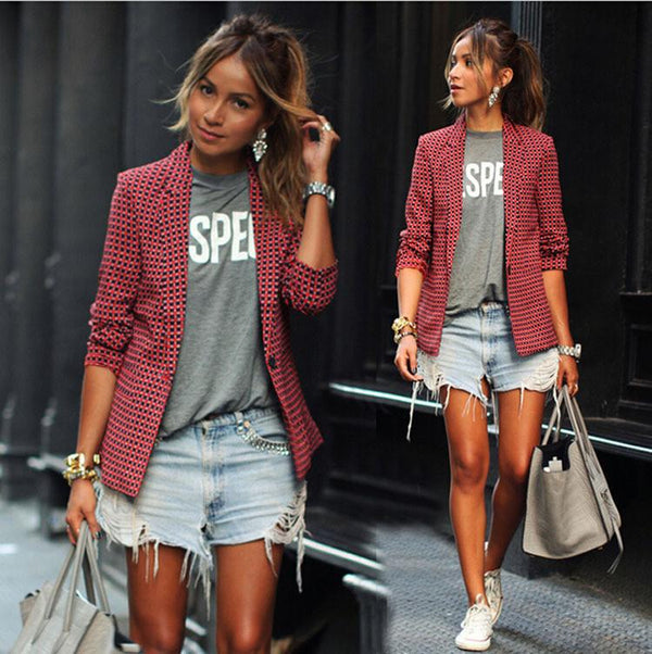 Red Plaid LapeL Long Sleeve Short Blazer Coat - Bags in Cart - 2