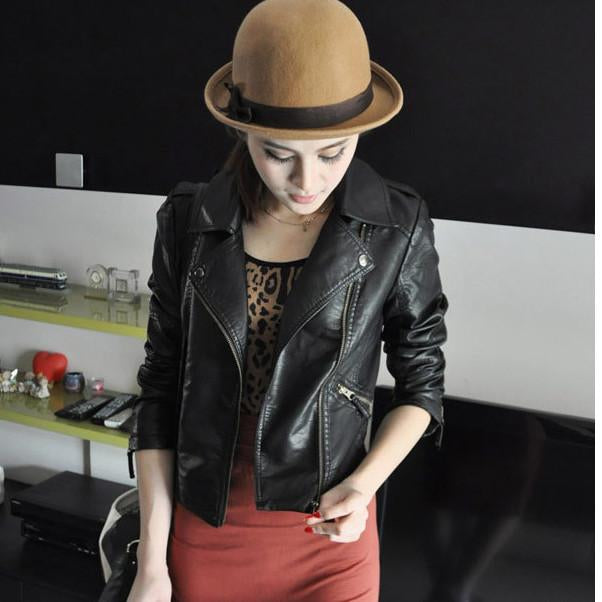 Women Black Zipper Moto Crop Slim Jacket - Bags in Cart - 1
