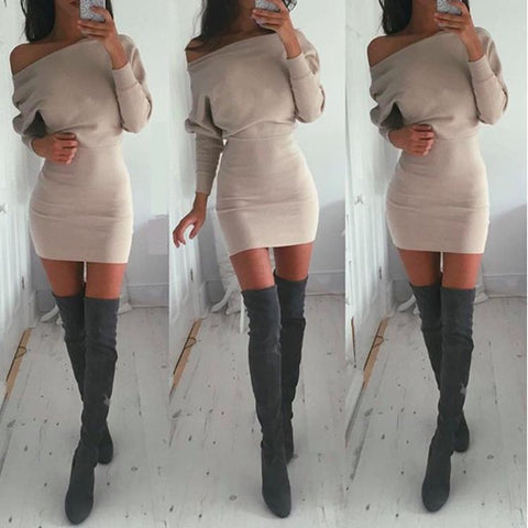 Bodycon Boat Neck Long Sleeves Short Dress - Meet Yours Fashion - 1