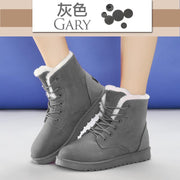 Thick Velvet Round Toe Lace Up Short Snow Boots