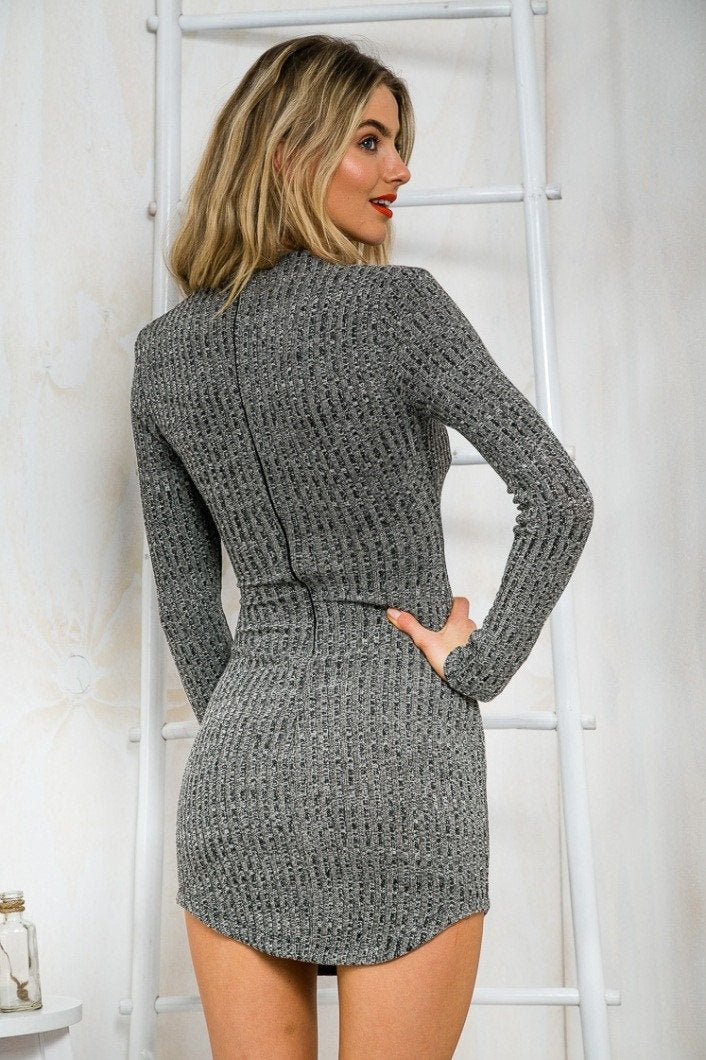 Women Knitting  Long Sleeve Sweater Lace  Bodycon Dress - Shoes-Party - 5