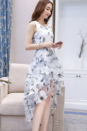 Flower Print Slim Beach Irregular Long Dresses