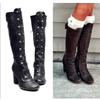 Leather Rivet High Heel Knee High Boots