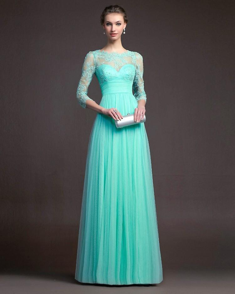Beautiful 3/4 Sleeve Lace Pleated Long Party Dress