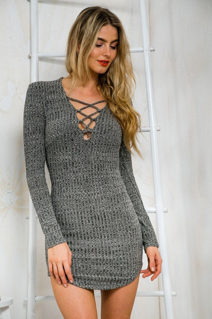 Women Knitting  Long Sleeve Sweater Lace  Bodycon Dress - Shoes-Party - 4