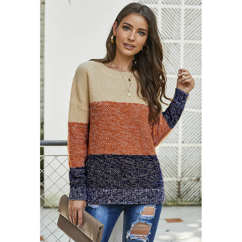 Striped Colorblock Crew Neck Sweater