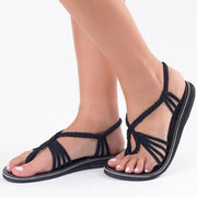 Weave Strings Slip-on Flat Women Beach Sandals