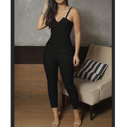 Onepiece Spaghetti Strap Pocket Jumpsuits