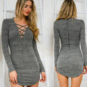 Women Knitting  Long Sleeve Sweater Lace  Bodycon Dress - Shoes-Party - 1