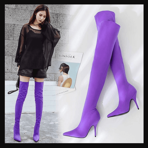 Thigh High Slouchy High Heel Sock Boots