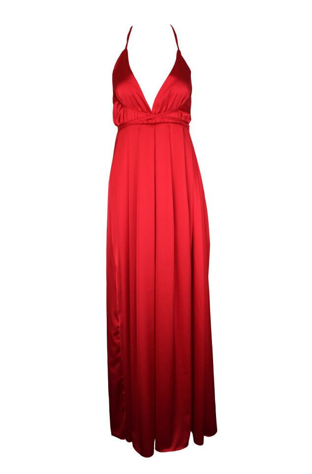 Spaghetti V-neck Backless Solid Color Long Dress - Shoes-Party - 5