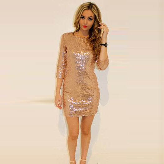 Sequin 1/2 Sleeves Skinny Pencil Club Short Dress