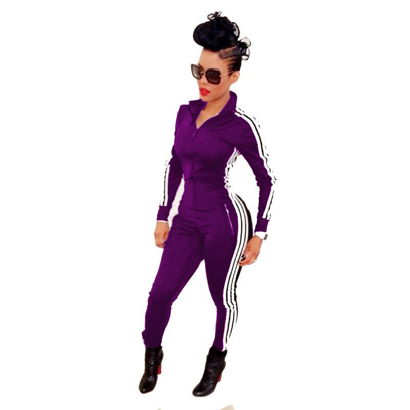 Fashion Side Stripe Lapel Front Zipper Long Jumpsuit