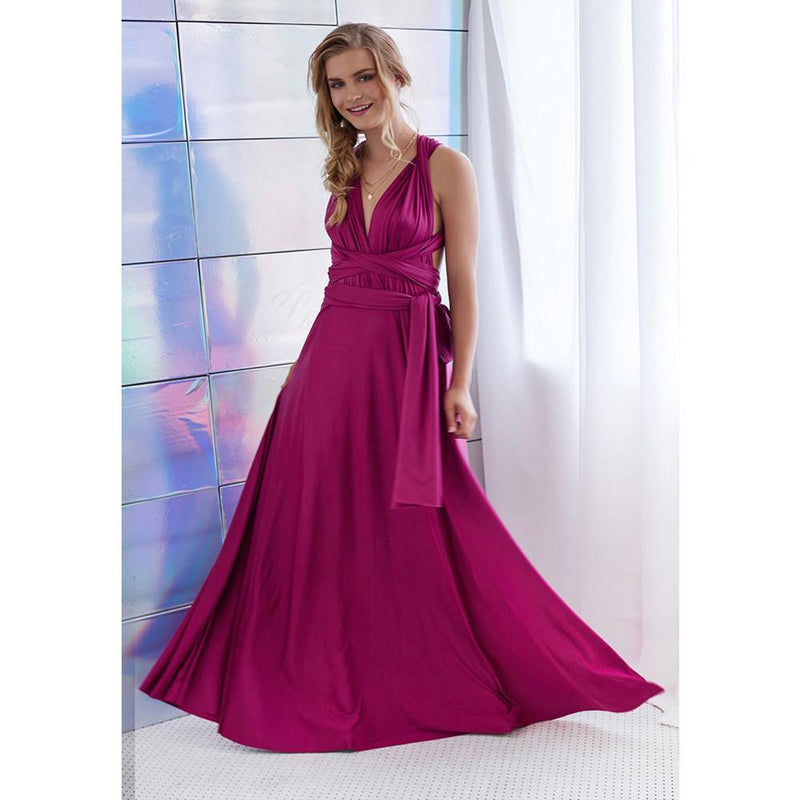 Back Cross V-neck Bandage Floor Length Prom Dress - Shoes-Party - 11