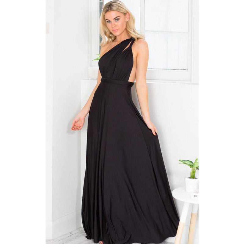 Back Cross V-neck Bandage Floor Length Prom Dress - Shoes-Party - 15