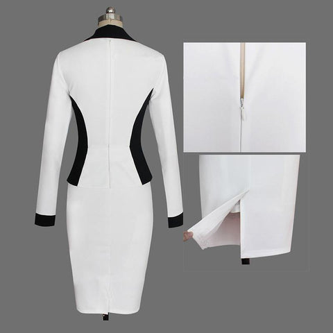 Turn-down Collar Long Sleeves Pencil Patchwork Knee-length Dress