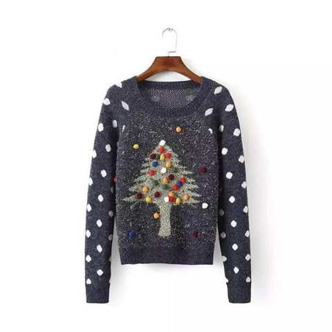 Pullover Christmas Tree Print Scoop Long Sleeve Sweater