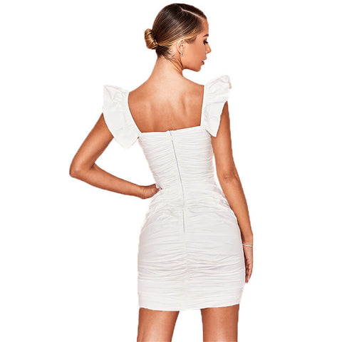 Ruffle Sleeve Ruched Bodycon Dress
