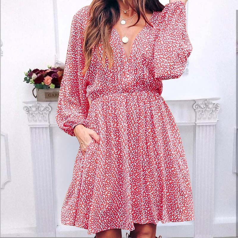 Floral V Neck Lantern Sleeve Short Dress