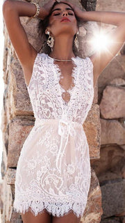 White Deep V-neck Sleeveless Lace Short Dress - Shoes-Party - 2