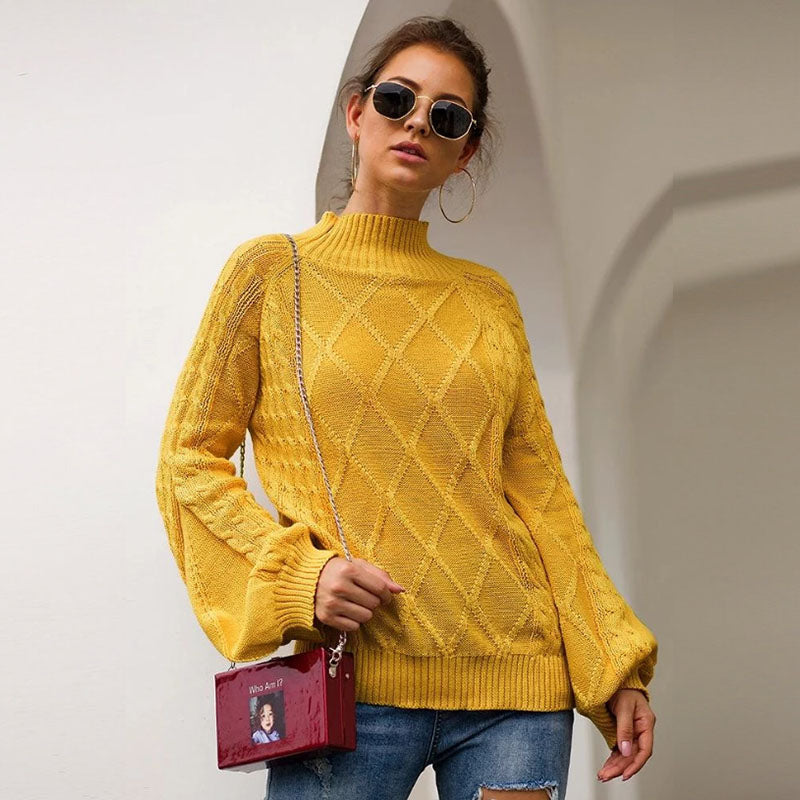 Mock Neck Loose Geometric Knit Sweater