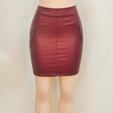 Joker PU Hidden Zipper Fake Pockets Slim Short Skirt