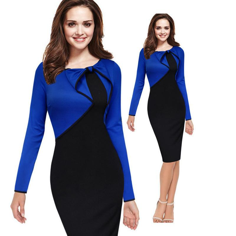 Scoop Splicing Bowknot Long Sleeve Mid-Calf Party Dress