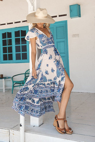 Long Print V-neck Sexy Chiffon Bohemian Dress - Shoes-Party - 2