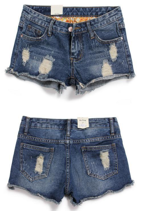 Rough Edges Low Waist Fashion Plus Size Ripped Denim Shorts - Bags in Cart - 2