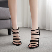 Black High Heel Pointed Toe Cutout Buckle Sandals