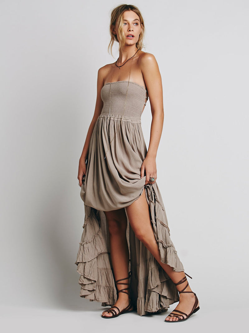 Backless Spaghetti Strap Sleeveless Long Beach Dress