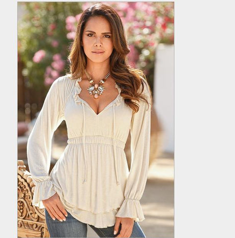 Deep V-neck Long Sleeves Drop Hem Flared Elastic Blouse - Oh Yours Fashion - 5