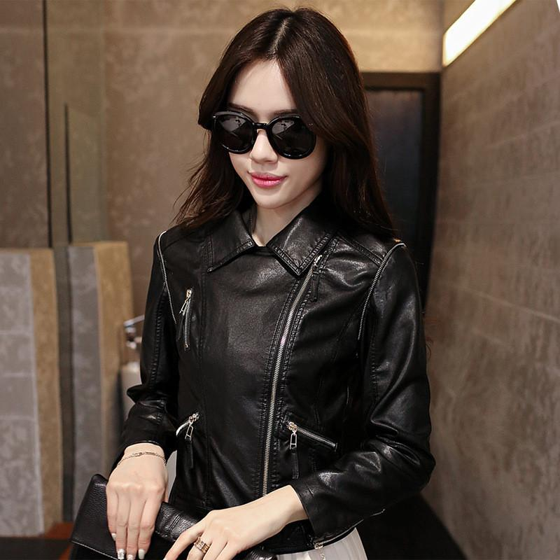 Stand Collar Rivet Oblique Zipper Slim Crop Jacket - Bags in Cart - 5