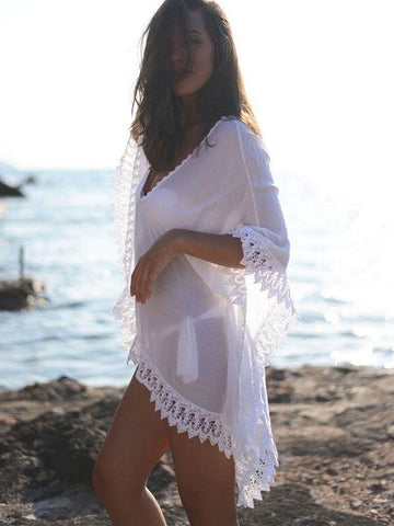 Lace V-neck Sexy Transparent Bikini Cover Up Dress - Shoes-Party - 1