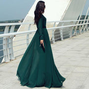 Long Sleeves Chiffon Button Decorate Pleat Long Maxi Dress - Shoes-Party - 2